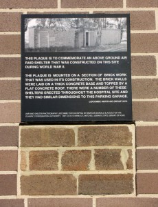 PLAQUE FROM FORMER AIR RAID SHELTER